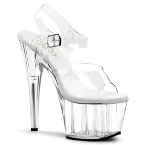 "PLEASER Adore-708 7"" Heel Platform Shoe Clear/Clear"