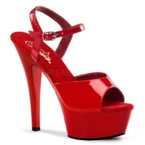 "PLEASER Kiss-209 6"" Heel Platform Shoe Red Patent/Red"
