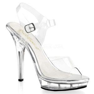 "PLEASER Fabulicious Lip-108 5"" Heel Platform Shoe Clear/Clear"