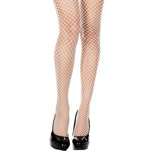 ML4930 Mini Diamond Net Thigh High Stockings White One Size