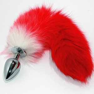 Red Fox Tail Smooth Silver Butt Plug